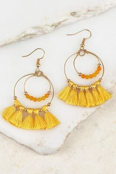 Yellow Lemon Luxury Long Tassel Fashion Earring Boho Festival Party Boutique Uk For Sale Other Fashion Jewelry Jewelry & Watches