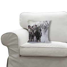 """12""""x12"""" (30x30cm) Fibre filled cushion with a plush soft feel. (other products available) - Horse riders taking part in the Riding of the Marches make their way along the town boundaries of Musselburgh in East Lothian, during the annual Musselburgh Festival organised by the Honest Toun's Association. - Image supplied by PA Images - #MediaStorehouse - 12"""" square cushion made in the UK August Bank Holiday, Native Canadian, St Anne, Trafalgar Square, Fine Art Prints, Framed Prints, Old Kitchen, Heritage Image, About Uk"""