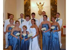 Wedding Party and Couple teal and white colors