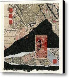 Roman Map Collage Canvas Print / Canvas Art By Carol Leigh