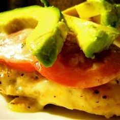 California Sauteed chicken topped with tomato, Monterey jack, and a crowning glory of silky avocado slices. Meat Recipes, Chicken Recipes, Cooking Recipes, Chicken Meals, Pork Meals, Duck Recipes, Avocado Recipes, Keto Chicken, Dinner Recipes
