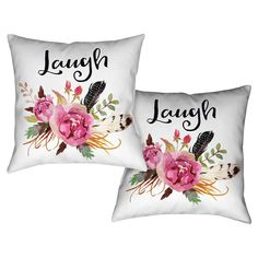 Laural Home Floral Bohemian Laugh Decorative 18-inch Throw Pillow