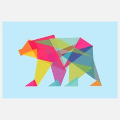 Fractal Geometric Bear Canvas