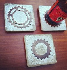 Want! COASTER SET - bike gear and concrete. $26.50, via Etsy.