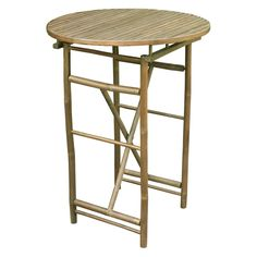 Zew Hand Crafted Round Bamboo Folding Bar Height Patio Table | from hayneedle.com