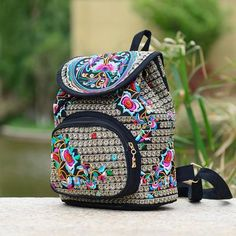 60d4658408ee Canvas Embroidery Ethnic Backpack Women s Embroidered Floral Print  Backpack. Embroidery BagsFashion ...