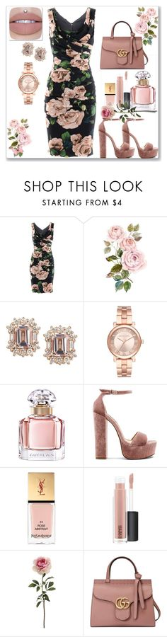 """Try Not To Blush"" by tigerlilli ❤ liked on Polyvore featuring Dolce&Gabbana, Michael Kors, Guerlain, Steve Madden, Yves Saint Laurent, MAC Cosmetics and Gucci"