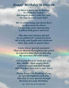 Happy Birthday mom, love you and miss you always