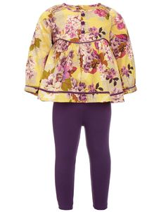 My Design Baby Emma Print blouse and Legging set | Yellow | Monsoon