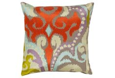 Ikat Cotton Pillow, Poppy Red