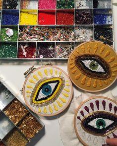 "4,744 Likes, 52 Comments - ⚡Tessa⚡ (@tessa_perlow) on Instagram: ""Evil eye production line #embroidery #beadart"""