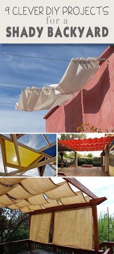 9 Clever DIY Ways to Create Backyard Shade 2019 9 Clever DIY Ways for a Shady Backyard Oasis Ideas tutorials and some creative ways to bring shade to your backyard! The post 9 Clever DIY Ways to Create Backyard Shade 2019 appeared first on Backyard Diy. Backyard Shade, Backyard Patio, Backyard Landscaping, Pergola Patio, Landscaping Ideas, Shade Ideas For Backyard, Backyard Canopy, Cheap Pergola, Sloped Backyard