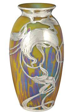❤ - Loetz | Silver Overlay Glass Vase Circa 1900.