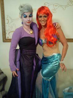 Arielle und Ursula die böse Hexe, das Kostüm der Ursula habe ich selbst gemacht und bei Arielle haben wir das gekaufte noch etwas aufgehübscht mit echten Muscheln... www.madebynika.de