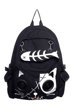 Speaker Bag by Banned KITTY Cat Animal Rucksack Backpack Emo Gothic Plug & Play