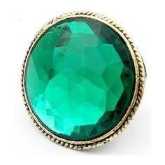 Shining Green Big Precious Stone Vintage Rings @SP39476 ($5.99) ❤ liked on Polyvore