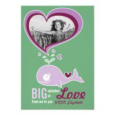 Cute Cartoon Purple Whale Valentine Photo Greeting Card by fatfatin