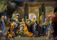 Габриэль-Франсуа Дуайен -- Рыцари Святого Духа отдают честь Людовику XVI в Реймсе. Версальский дворец