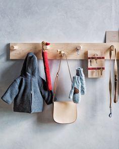 Craft Coat Hooks from Shaker Peg Rails - so cute nice. Use scrap wood to make key board, blackboard