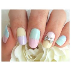 10 Super Easy Pastel Nail Art Designs For Prom featuring polyvore, nails, nail art, beauty, makeup and nail polish