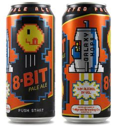 Pale Ale - Beer For Gamers: Drinking and video games go hand in hand. So it shouldn't come as much of a shock to learn that Tallgrass Brewing Co. has come out with a video game themed beer, the Pale Ale. Classic Video Games, Retro Video Games, Craft Bier, Craft Beer Labels, Pale Ale Beers, 8 Bits, Beer Packaging, Best Beer, Bottle Design