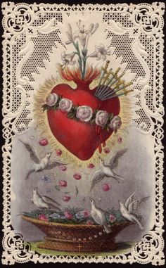 Sacred Heart of Jesus - Immaculate Heart of Mary The Hearts of Jesus and Mary are attentive to the voice of your supplications. The Holy Hearts of Jesus and Mary have merciful designs for you. … I draw upon the infinite merits of the Sacred Heart of. Religious Images, Religious Icons, Religious Art, Catholic Art, Catholic Saints, Immaculée Conception, Sacred Heart Tattoos, Jesus E Maria, Vintage Holy Cards