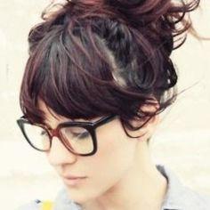 glasses\pretty |nerd|brown hair/updo|girl
