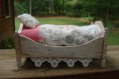 vintage remake shabby bed and linens by DollhouseLittles on Etsy