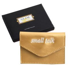 Women's Rosanna Small Talk Leather Card Holder ($18) ❤ liked on Polyvore featuring bags, wallets, 100 leather wallet, embroidered bag, leather card holder wallet, metallic bag and card holder wallet