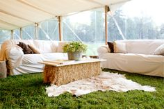 party lounge area . complete with a haystack