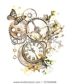 steam punk watercolor Illustration with wildflowers keys clockwork jewelry clock butterfly Flowers. Illustration isolated on white background. Vintage Blume Tattoo, Vintage Clock Tattoos, Vintage Flower Tattoo, Vintage Flowers, Clock Painting, Clock Art, Clockwork Tattoo, Clock Drawings, Key Drawings