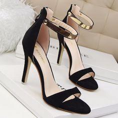 Elegant Gold Ankle Strap Sandal Style Dress Heels