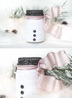 Yarn Wrapped Snowman Mason Jar Luminary