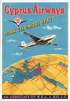 Cyprus Airways route map and airplane Postcard Travel Ads, Airline Travel, Air Travel, Vintage Advertisements, Vintage Ads, Vintage Airline, Illustration Avion, Vintage Travel Posters, Retro Posters