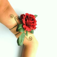 Gypsy Rose upper arm cuff armlet  large red by InMyFairyGarden