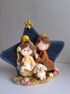So cute! Clay Art Projects, Polymer Clay Projects, Polymer Clay Creations, Polymer Clay Art, Diy Clay, Christmas Nativity Scene, Christmas Crafts, Christmas Ornaments, Polymer Clay Christmas