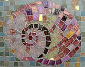 Pink Snail Shell Mosaic Card - Blank Greetings Card - Mosaic Art