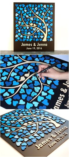 rustic wedding guestbook tree of hearts / http://www.deerpearlflowers.com/rustic-country-wood-wedding-guest-books/2/