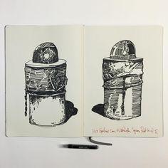 Two Garbage Cans/Washington Square Park (October 1st, 2016) #inktober #drawing #drawingonlocation #drawingonlocationfrommemory #washingtonsquarepark #nyc #newyorkcity #travelersnotebook #traveler #tourist #twingley #moleskine #moleskineart #liquitex #liquitexpaintmarker #art #inktober2016