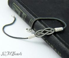 Pure Silver Love Knot Bracelet in Black and by NMBeadsJewelry