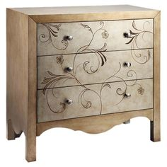 A lovely addition to your master suite or living room, this 3-drawer chest showcases a scalloped apron and scrolling hand-painted floral details.  ...