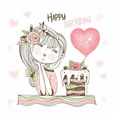 Happy Birthday Angel, Birthday Wishes For Kids, Birthday Wishes Messages, Very Happy Birthday, Happy Birthday Greetings, Birthday Cards, Happy Birthday Illustration, Happy Mothers Day Wishes, Its A Girl Balloons