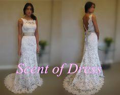 Backless wedding dress  princess wedding dress / by ScentofDress, $215.00