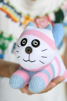 Handmade  plush  Sock  Cat   stuffed  animal  dolls   by hellykary, $11.50