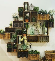 Display work for 'The Conservatory' lifestyle for Freedom Furnitures Winter 2016 collection. Crate stacking wall feature – freedom furniture – interior styling – interior design – visual merchandising – display – wall art – greenery – crates – florals – rustic – create