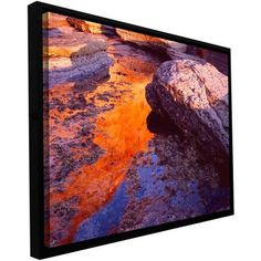 ArtWall Dean Uhlinger Sunset Cliffs Reflection Floater Framed Gallery-Wrapped Canvas, Size: 24 x 32, Brown