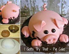 Pig Cake Tutorial wonderfuldiy Wonderful DIY Happy Pig in Mud Cake Pigs In Mud Cake, Pig In Mud, Pig Party, Farm Party, Piggy Cake, Farm Animal Cakes, Animal Cakes For Kids, Happy Pig, Farm Cake