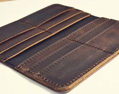 Slim Handmade Mens Leather Wallet Men Womens от SolidLeatherCo