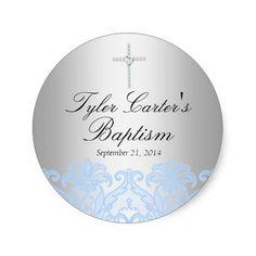 Blue Lace & Cross Baptism Sticker