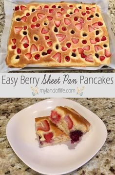 Breakfast is by far the favorite meal in our house; our kids go nuts over any kind of breakfast food and especially love it when we do breakfast for dinner. With all the breakfast-making practice I…Berry Sheet Pan Pancakes - Powered by Makes a lot! What's For Breakfast, Breakfast Recipes, Breakfast Sandwiches, Freezer Sandwiches, Frozen Breakfast, Quick And Easy Breakfast, Breakfast Healthy, Breakfast Dishes, Cooking Recipes